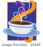 #33425 Clipart Of A Cup Of Hot Coffee Releasing Aromatic Steam