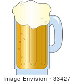#33427 Clipart Of A Mug Of Frothy Beer Pouring Over The Rim Of The Glass