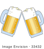 #33432 Clipart Of A Pair Of Beer Mugs With Froth Preparing To Toast