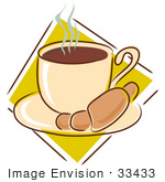 #33433 Clipart Of A Warm Croissant On A Saucer With A Steamy Cup Of Hot Coffee