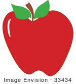 #33434 Clipart Of A Bright Red Flawless Apple With Two Leaves Attached To The Stem