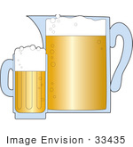 #33435 Clipart Of A Large Pitcher Of Beer Beside A Tall Mug Of Frothy Brew In A Bar