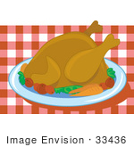 #33436 Clipart Of A Platter Served With Turkey Carrots And Potatoes For Christmas Or Thanksgiving Dinner