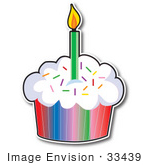 #33439 Clipart Of A First Birday Cupcake With Rainbow Paper Sprinkled Frosting And One Candle