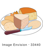#33440 Clipart Of A Platter Of Different Tyeps Of Cheeses And Crackers