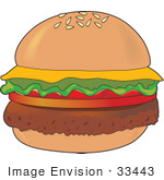 #33443 Clipart of a Sesame Seed Bun Hamburger With Cheddar Cheese by Maria Bell
