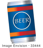 #33444 Clipart Of A Blue Can Of Beer