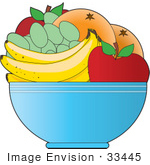 #33445 Clipart Of A Fruit Bowl With Apples Oranges Green Grapes And Bananas On A Kitchen Counter
