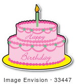 #33447 Clipart of a Pink Girl's Birthday Cake With Two Layers And One Candle On Top by Maria Bell