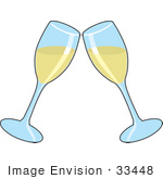 #33448 Clipart Of Toasting Clear Wineglasses Filled With White Wine