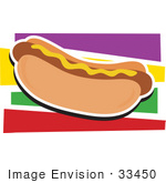 #33450 Clipart Of A Mustard Topped Hot Dog In A Bun Over A Colorful Background