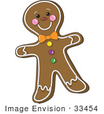 #33454 Clipart Of A Smiling Gingerbread Man With Frosted Accents A Bow And Candies