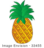 #33455 Clipart of a Ripe Tropical Pineapple Fruit by Maria Bell