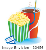 #33456 Clipart Of A Container Of Buttered Popcorn With Fizzy Soda And Two Movie Tickets