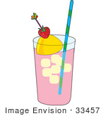 #33457 Clipart Of A Glass Of Strawberry Lemonade With Ice Cubes A Wedge Of Lemon And A Strawberry