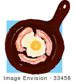 #33458 Clipart Of A Frying Pan With Eggs And Bacon Cooking by Maria Bell
