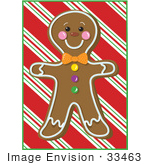 #33463 Clipart Of A Cute Gingerbread Man Cookie On A Christmas Background