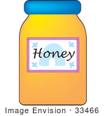 #33466 Clipart Of A Jar Of Bee Honey With A Blue Lid