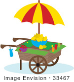 #33467 Clipart Of A Vendor Cart With An Umbrella Bowl Of Lemons Strawberries And Cups