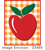 #33469 Clipart Of A Red Apple Over An Orange And White Checkered Background