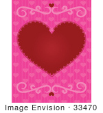#33470 Clipart Of A Red Heart With A Pink Background And Scrolls