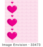 #33473 Clipart Of A Big And Small Pink Hearts Over A Pale Pink Heart Patterned Background