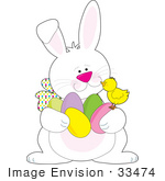 #33474 Clipart Of A Friendly Easter Bunny Chatting With A Baby Chick While Hiding Easter Eggs