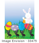 #33475 Clipart Of A Friendly Easter Bunny Waving To A Group Of Ants Carrying Away Colored Eggs