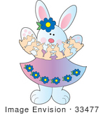 #33477 Clipart Of A Female Easter Rabbit Playing With Paper Bunnies