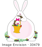 #33479 Clipart Of An Obese Easter Bunny Pigging Out On Chocolate Candies From An Easter Basket