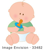#33482 Clipart Of A Happy Baby Boy Sucking On A Pacifier And Sitting On The Floor In A Diaper And Green Shirt by Maria Bell