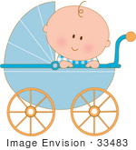 #33483 Clipart Of A Curious Baby Boy In A Blue Carriage, Peeking Over The Side by Maria Bell