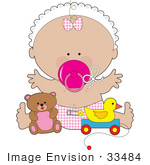 #33484 Clipart Of A Baby Girl In A Bonnet, Wearing A Pink Bow And Diaper, Sucking On A Pacifier And Playing With Toys In A Nursery by Maria Bell