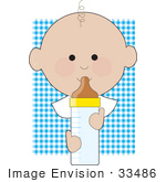 #33486 Clipart Of A Baby Boy With One Curly Hair, Drinking From A Bottle, Against A Blue Checkered Background by Maria Bell