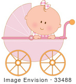 #33488 Clipart Of A Curious Baby Girl In A Pink Carriage, Peeking Over The Side by Maria Bell