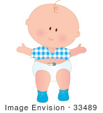 #33489 Clipart Of A Baby Boy With One Strand Of Curly Hair Wearing A Blue Shirt Shoes And Diaper