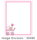 #33490 Clipart Of A Baby Girl In A Pink Carriage, Holding Onto A Balloon, In The Lower Left Corner Of A Stationery Border by Maria Bell