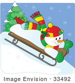 #33492 Christmas Clipart Of A Cute Red Bird Seated On A Snowman's Foot As They Go Sledding Downhill by Maria Bell