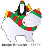 #33494 Christmas Clipart Of A Cute Penguin Riding On The Back Of A Friendly Polar Bear Wearing A Scarf