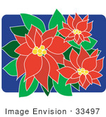 #33497 Christmas Clipart Of A Pretty Red Poinsettia Plant Flowering With Red And Green Leaves