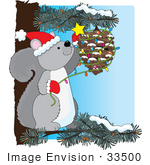 #33500 Christmas Clipart Of A Festive Gray Squirrel In A Pine Tree Decorating A Cone Just Like Humans Decorate A Tree