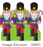 #33501 Christmas Clipart Of A Marching Group Of Three Toy Soldiers With Peppermint Candy Canes