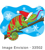 #33502 Christmas Clipart Of A Festive Green Chameleon Lizard With Red Stripes Matching His Santa Hat Catching Snowflakes While Resting On A Branch