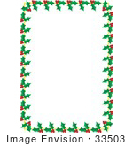 #33503 Christmas Clipart Of A Stationery Border Of Green Holly Leaves And Red Berry Clusters