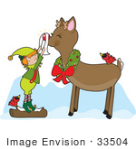 #33504 Christmas Clipart Of A Red Cardinal Bird Resting On The Back Of Rudolph As An Elf Shines His Nose