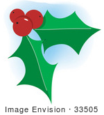 #33505 Christmas Clipart Of Three Red Berries And Two Green Holly Leaves