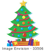 #33506 Christmas Clipart Of A Star On Top Of A Christmas Tree Decorated In Baubles And Garlands And Gifts Underneath It