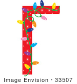 #33507 Christmas Clipart Of A Red Stationery Border With Colorful Lights