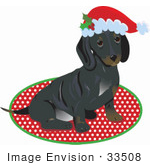 #33508 Christmas Clipart Of An Adorable Little Puppy Dog Wearing A Santa Hat