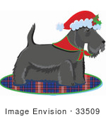 #33509 Christmas Clipart Of A Festive Scottish Terrier Dog Wearing A Santa Hat With Holly